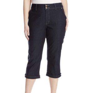 NYDJ Plus Kasia Crop Jeans Rhinestone Clasp 20W